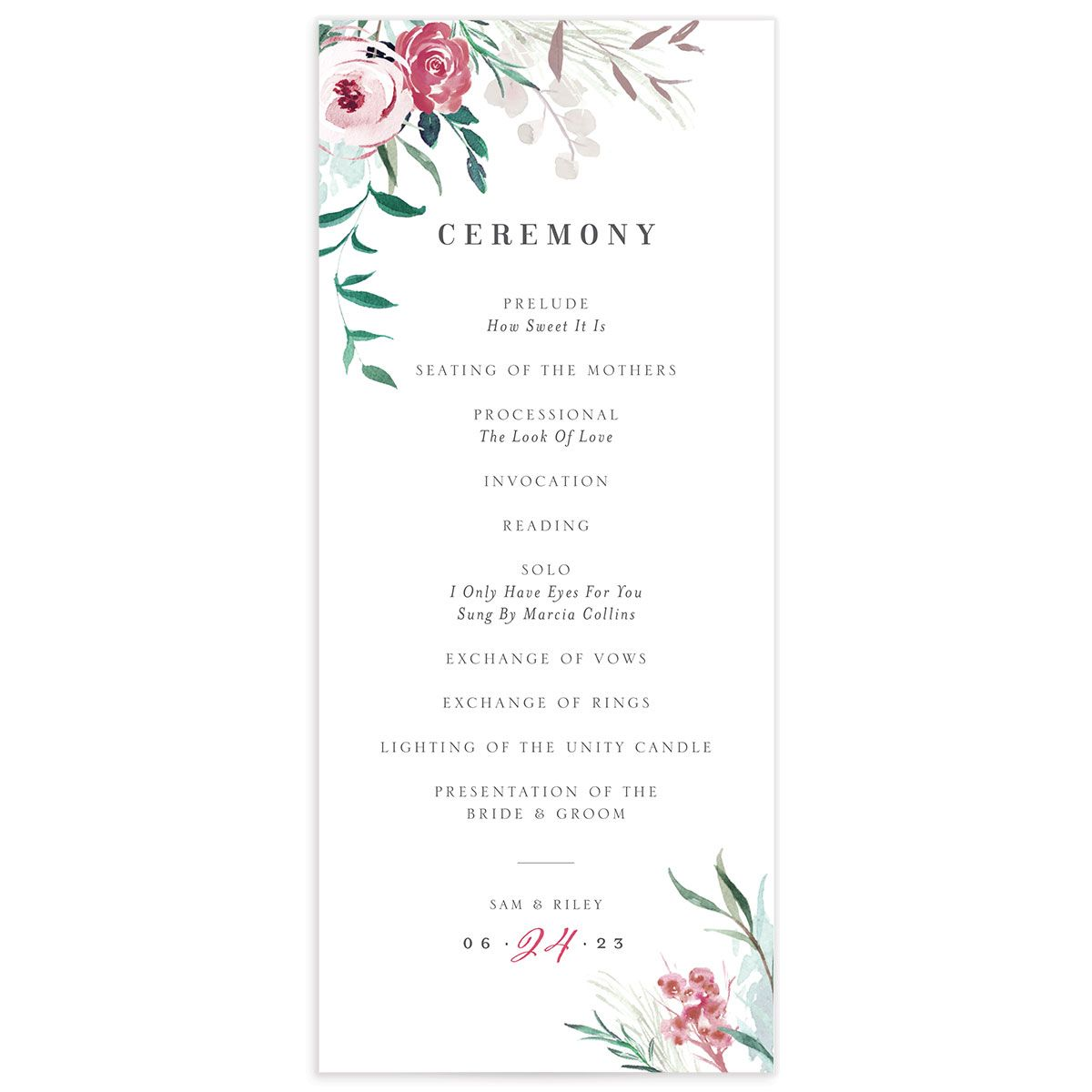 Wild Wreath Ceremony Card front green