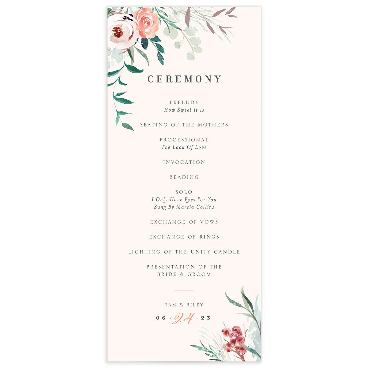 Wild Wreath Ceremony Card front pink