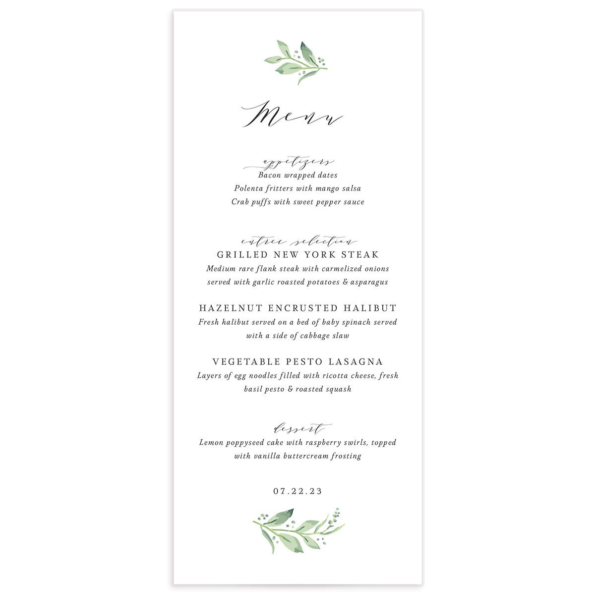 Classic Greenery Menu front in pink