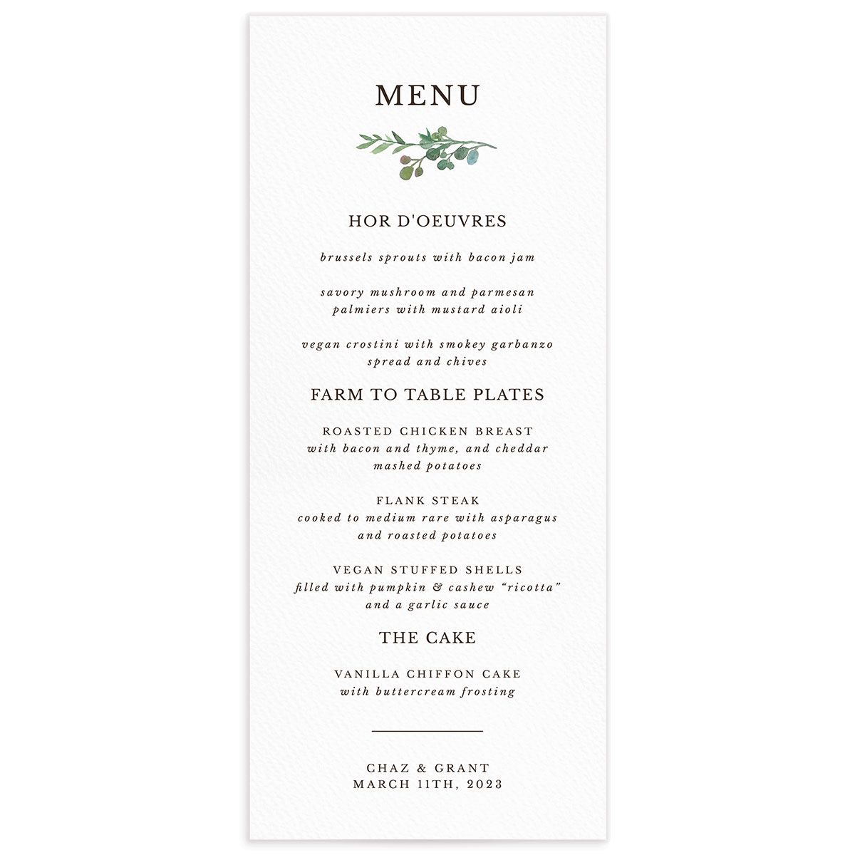 Leafy Hoops Wedding Menu front