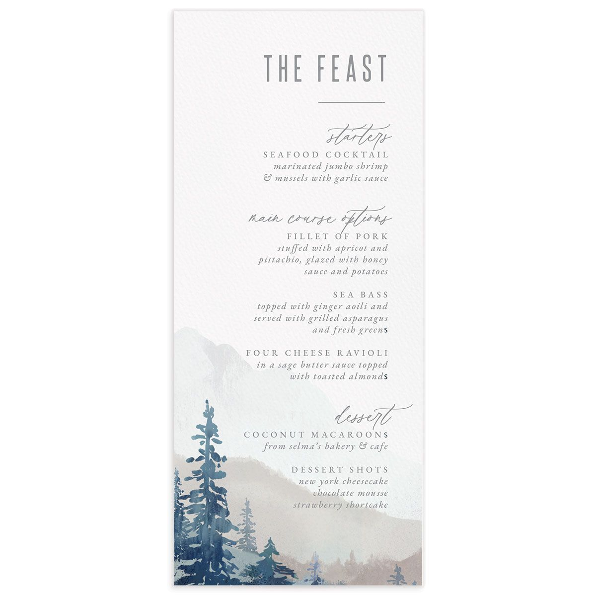 Painted Mountains Wedding Menu Card front blue
