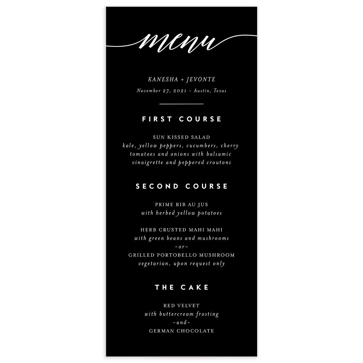We Do Wedding Menu Card front black