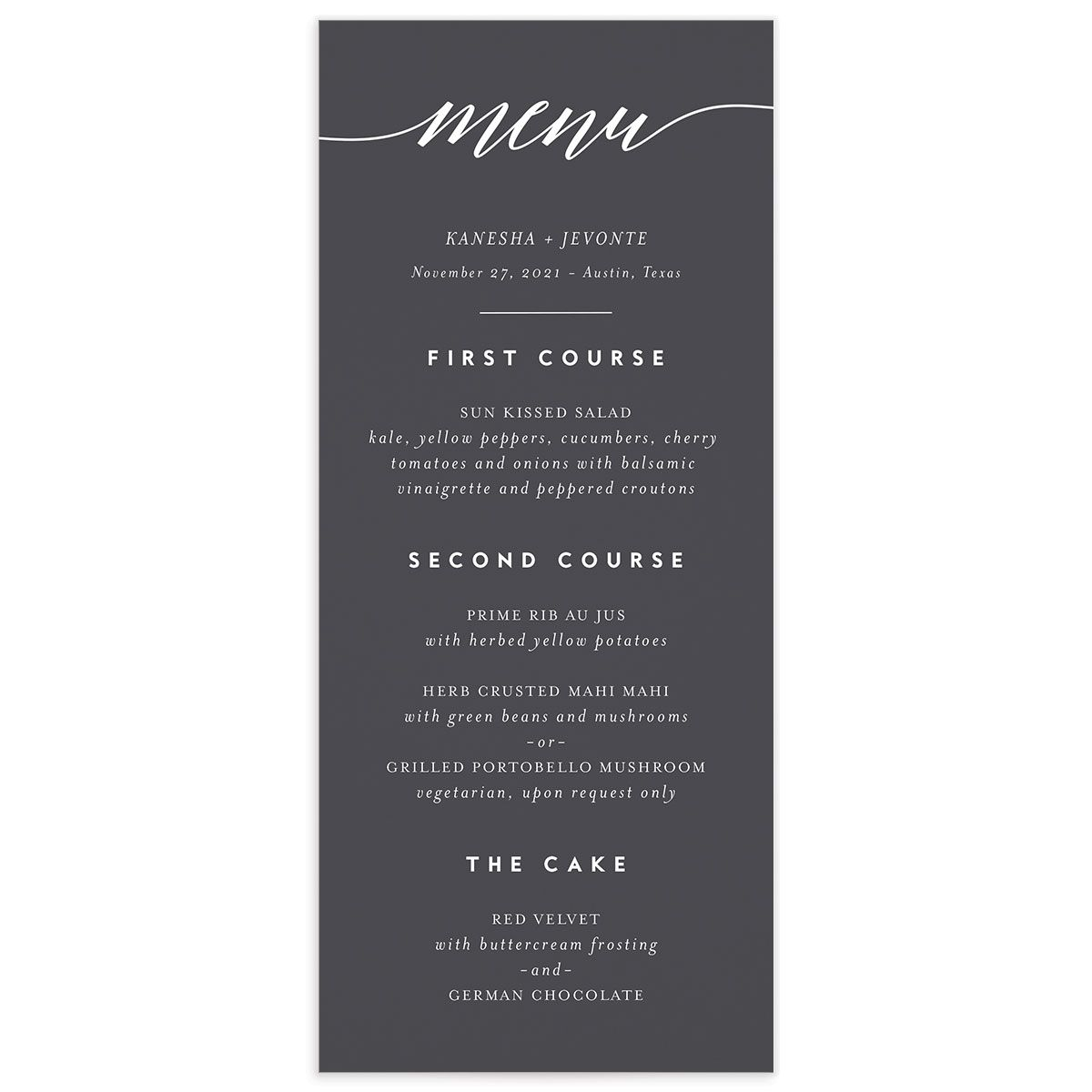 We Do Wedding Menu Card front grey