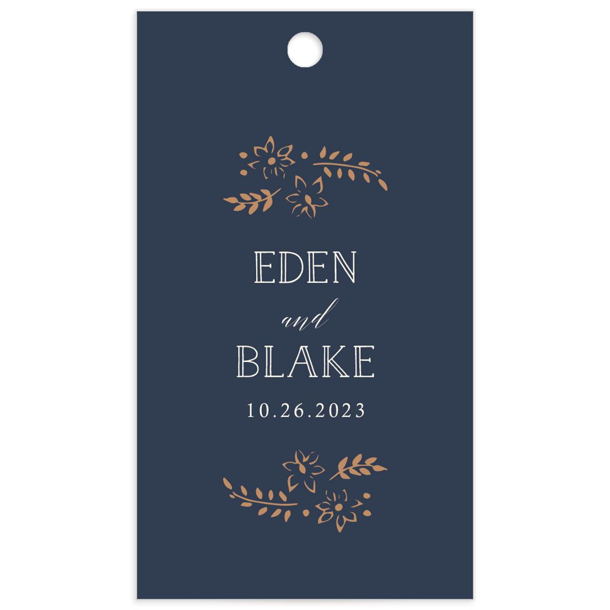 Woodsy Wreath Wedding Favor Gift Tag front Navy