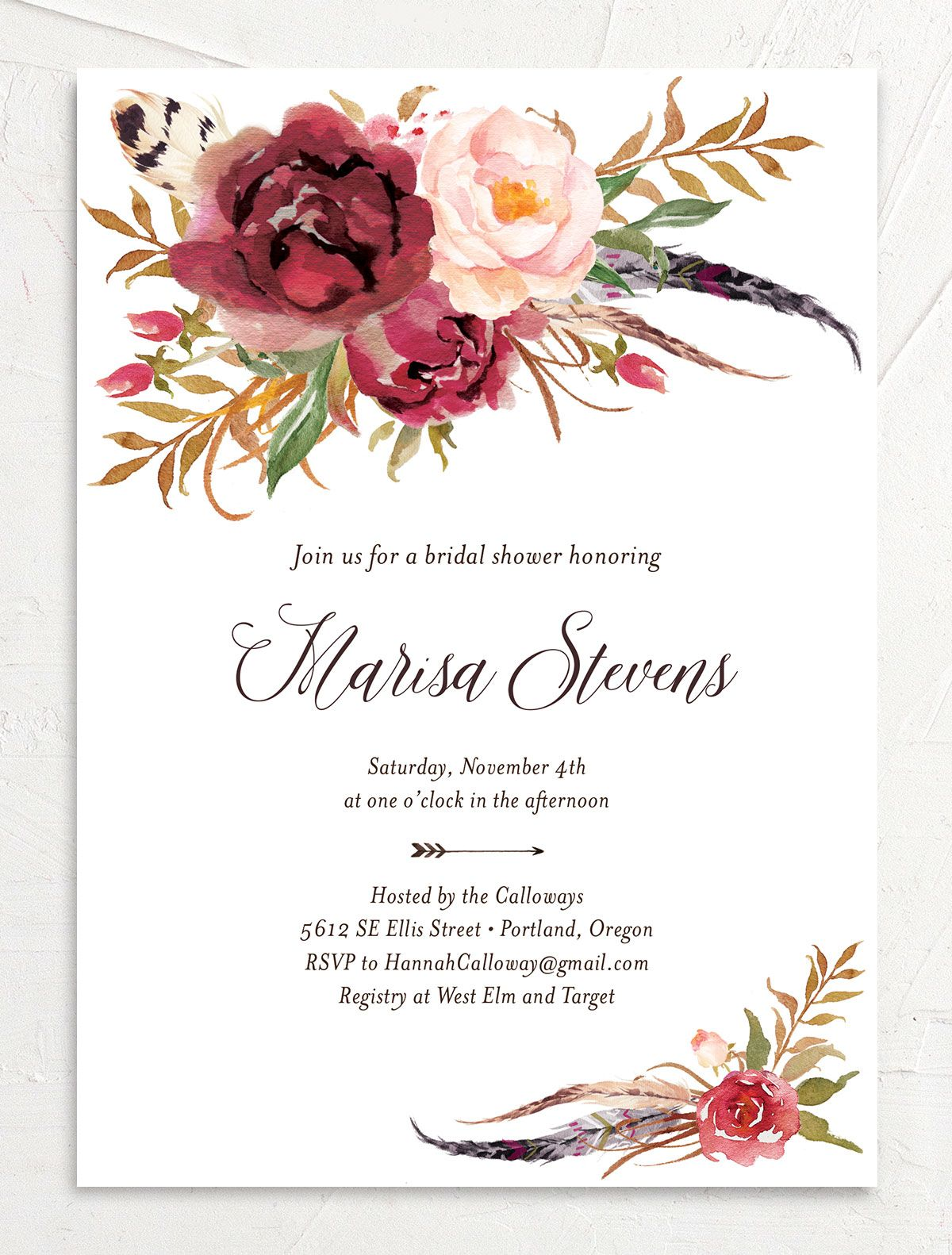 Bohemian Floral Bridal Shower Invitation front burgundy
