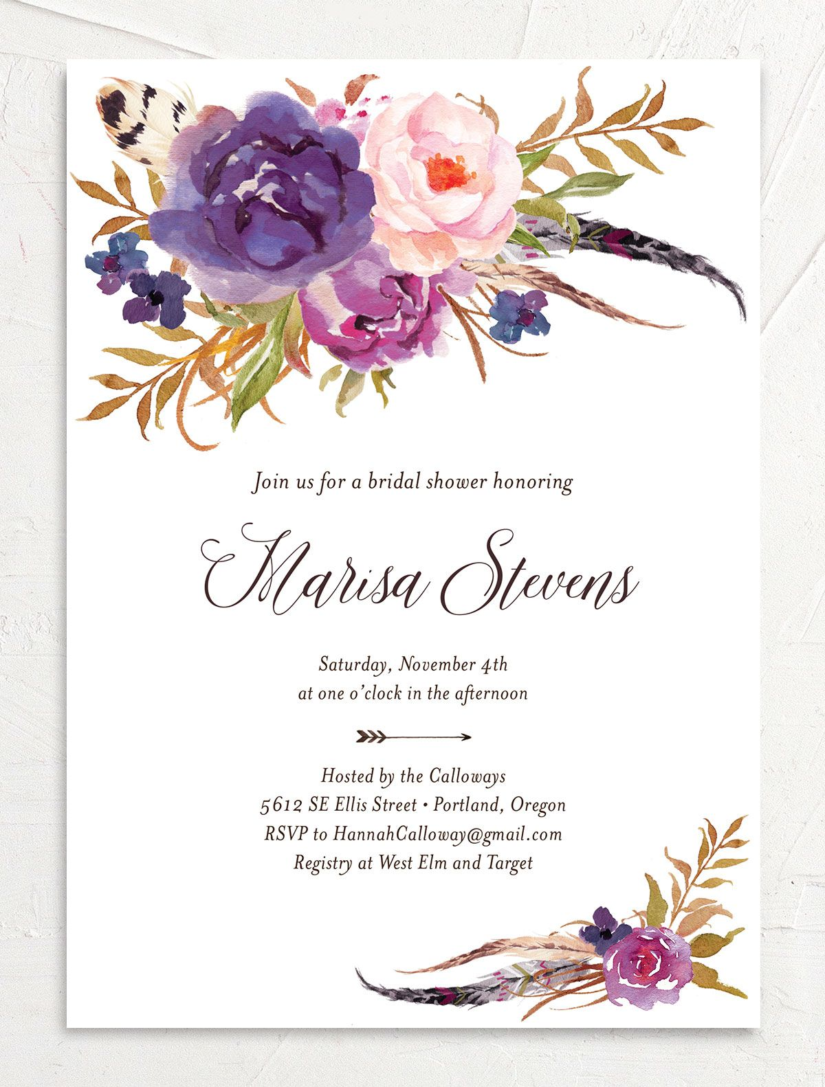 Bohemian Floral Bridal Shower Invitation front purple