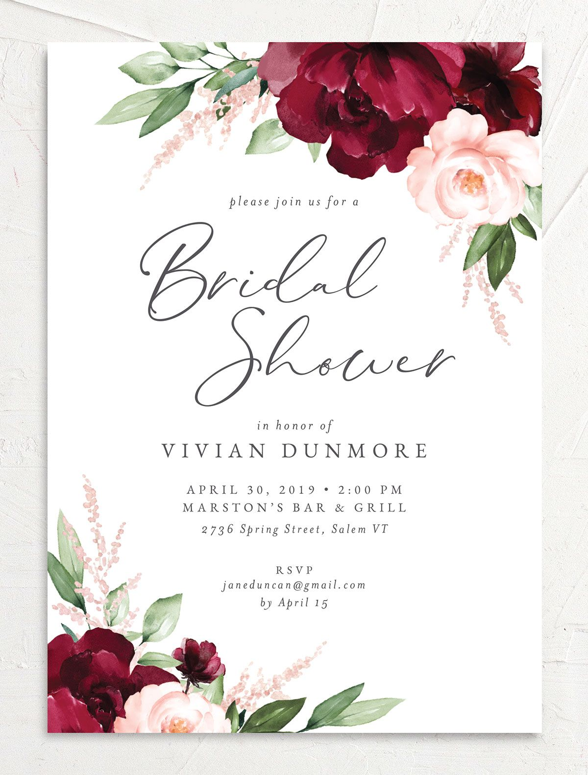 Beloved Floral Bridal Shower Invitation front in red
