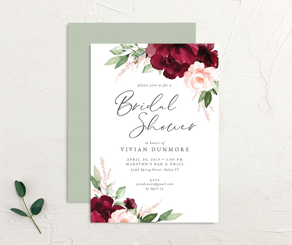 Beloved Floral Bridal Shower Invitation front & back in red