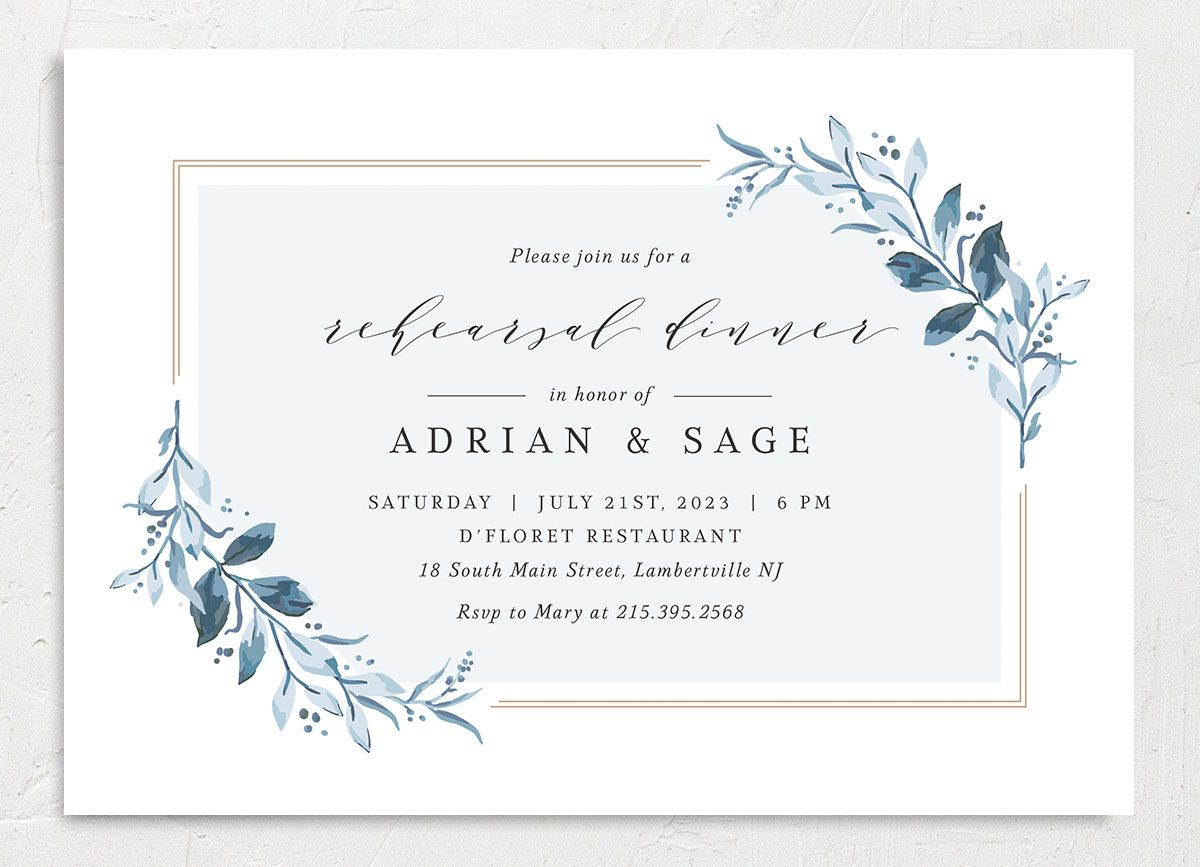 Classic Greenery Rehearsal Invitation front in blue