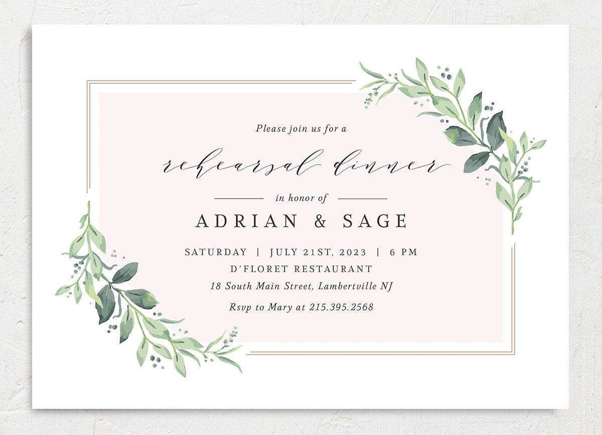 Classic Greenery Rehearsal Invitation front in pink