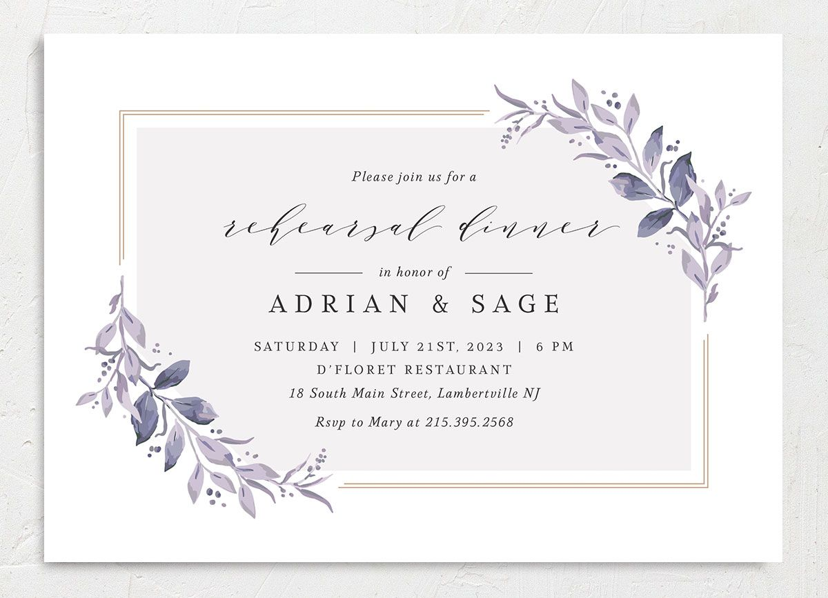 Classic Greenery Rehearsal Invitation front in purple