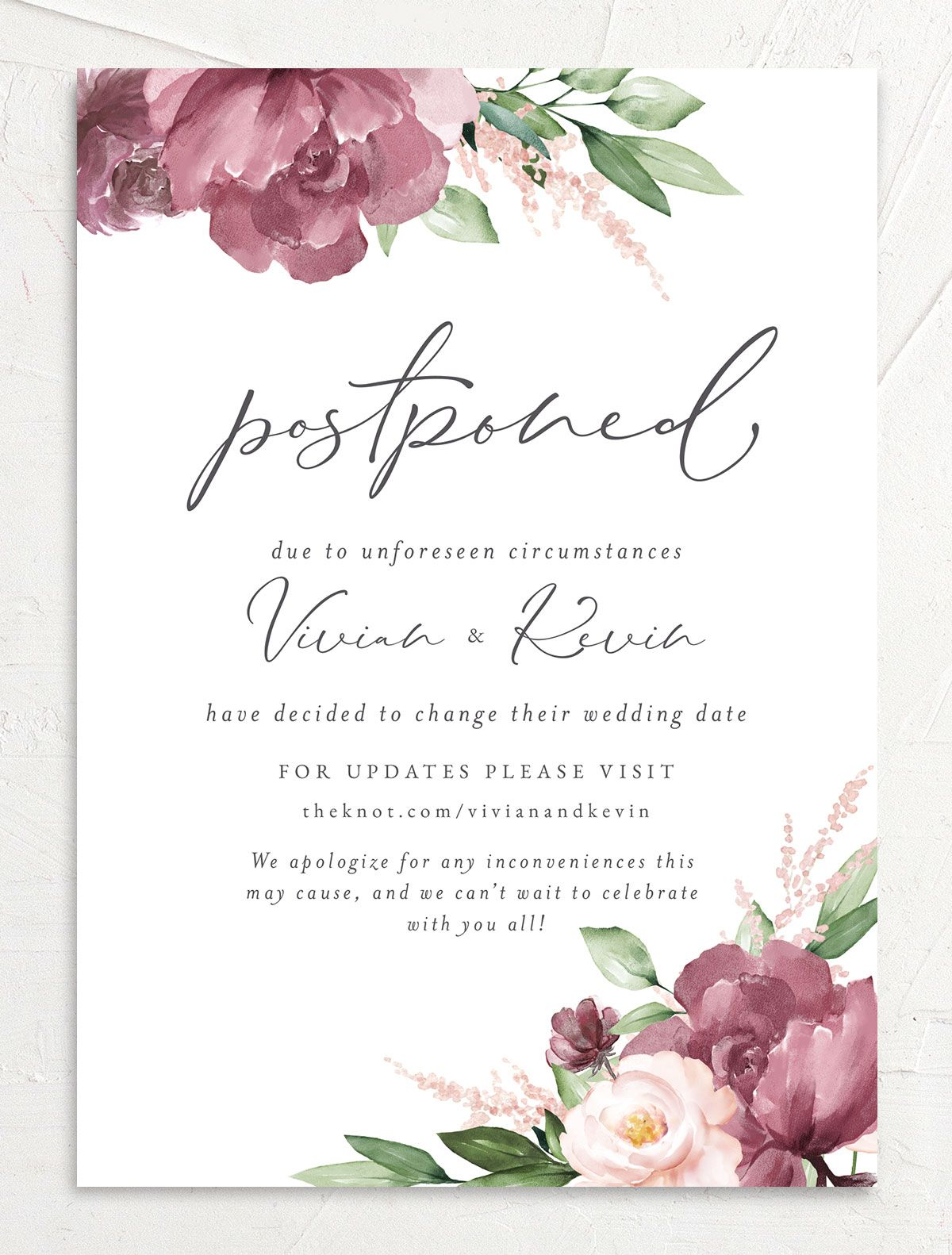 Beloved Floral Change the Date Card front closeup in pink