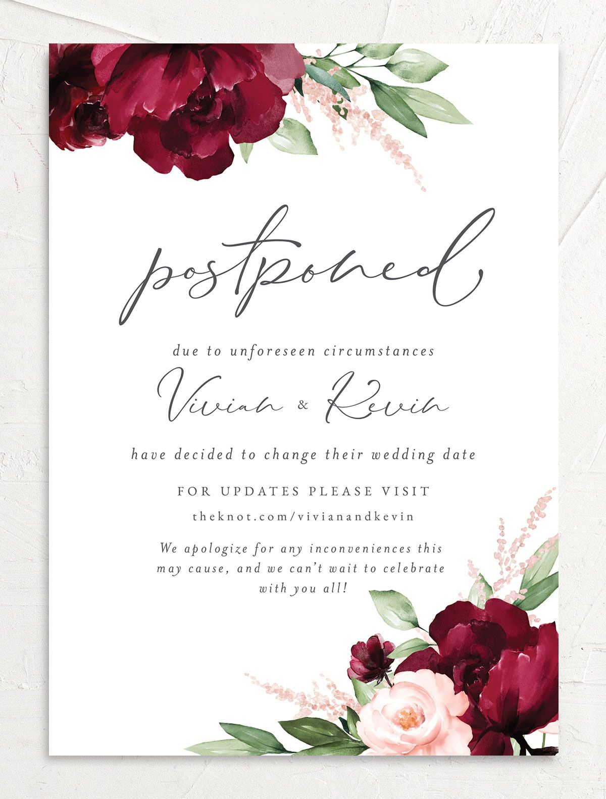 Beloved Floral Change the Date Card front closeup in red