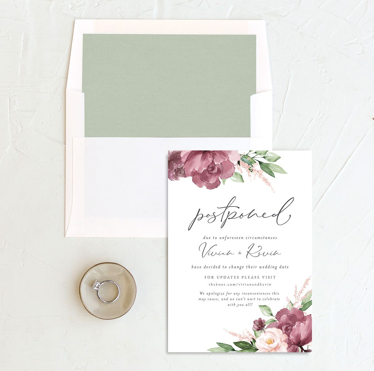 Beloved Floral Change the Date Card with DIY liner in pink