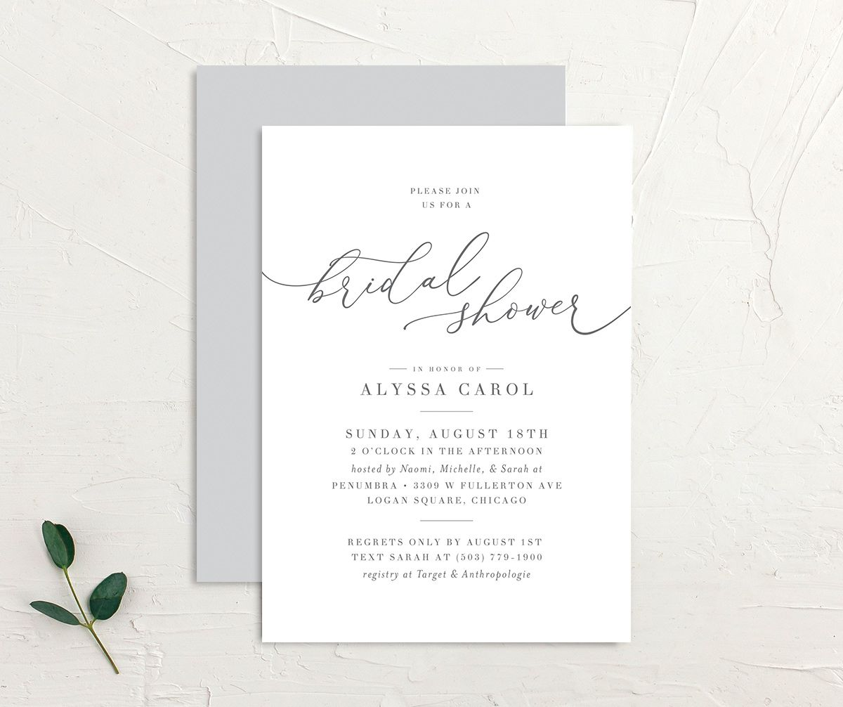 Romantic Calligraphy Bridal Shower Invitation front and back grey