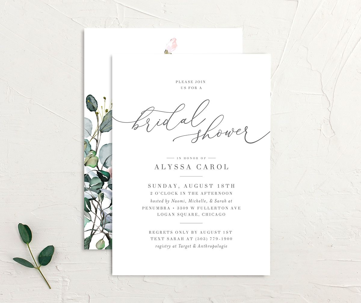 Romantic Calligraphy Bridal Shower Invitation front and back mulberry