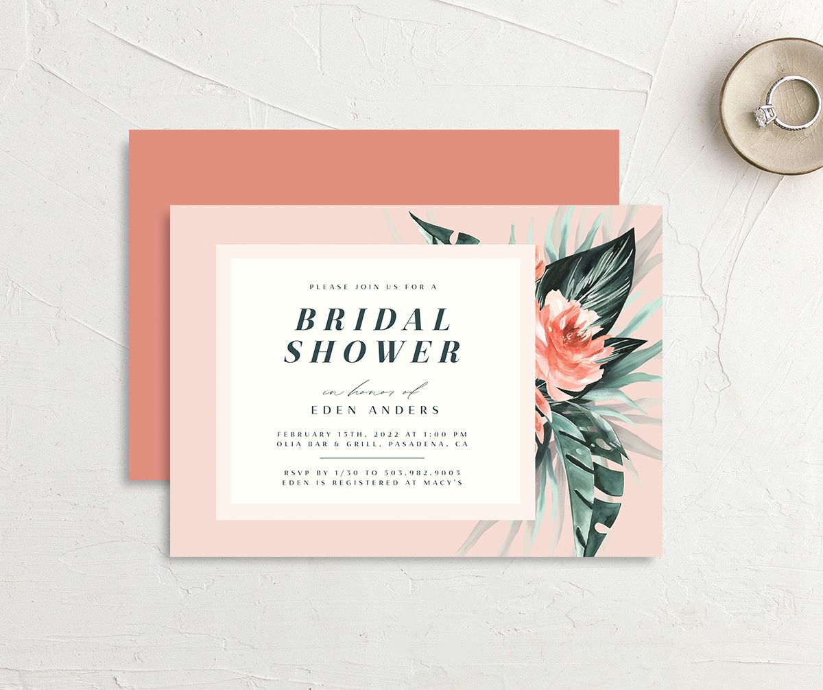 Mod Tropic Bridal Shower Invitation front & back in pink