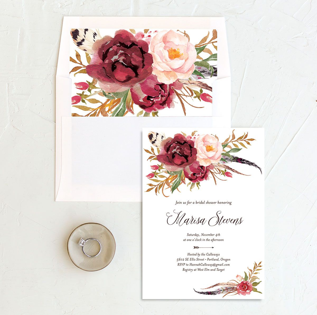 Bohemian Floral Bridal Shower Invitation and Envelope Liner burgundy