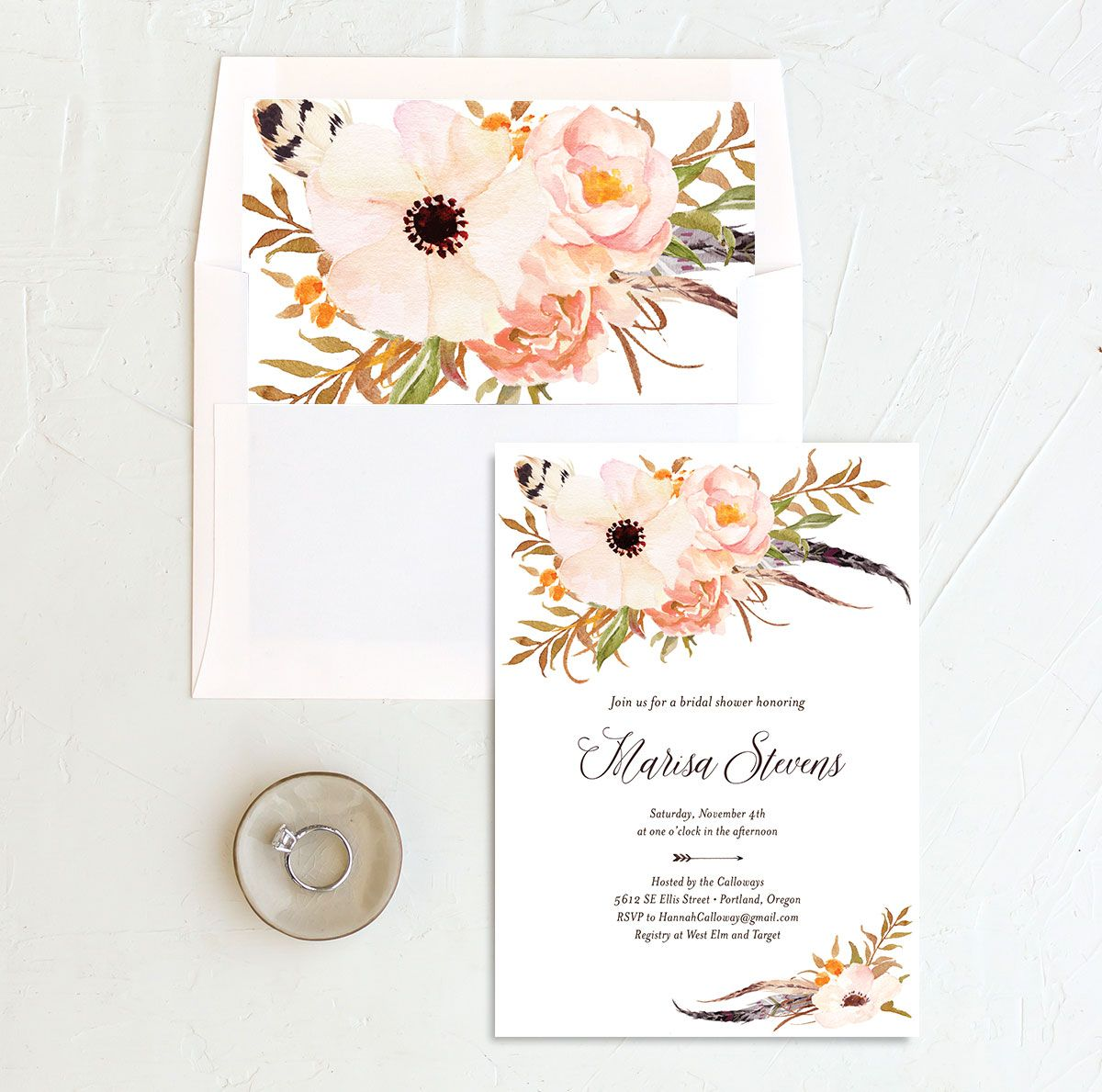Bohemian Floral Bridal Shower Invitation and Envelope Liner peach