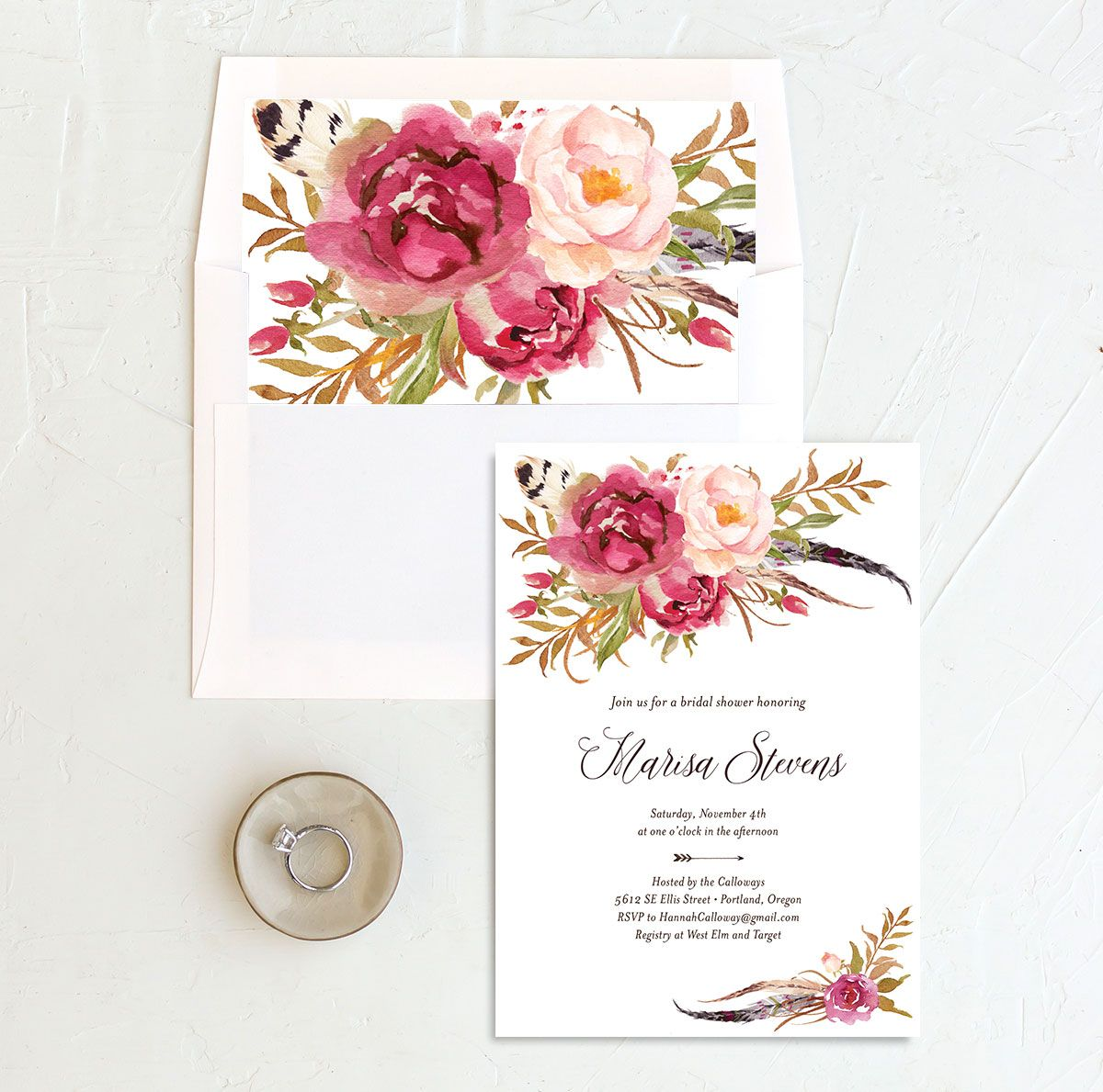 Bohemian Floral Bridal Shower Invitation and Envelope Liner pink