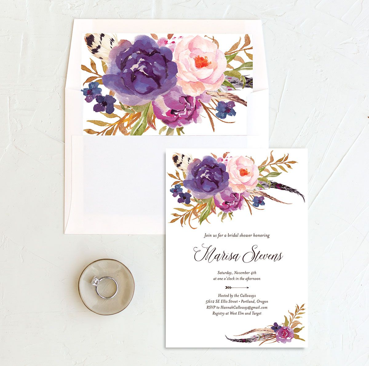 Bohemian Floral Bridal Shower Invitation and Envelope Liner purple