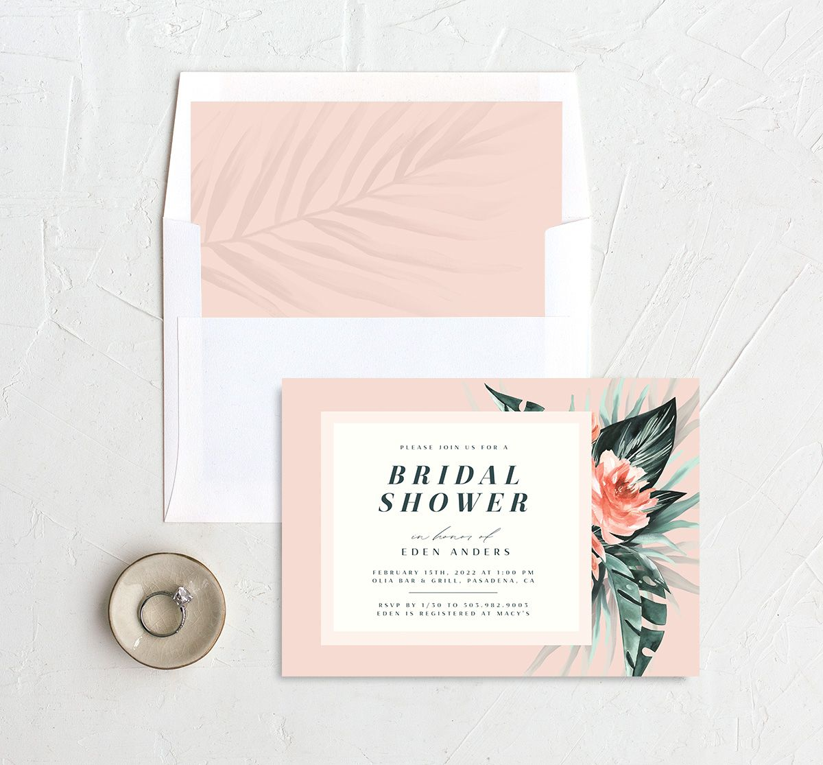 Mod Tropic Bridal Shower Invitation with DIY liner in pink