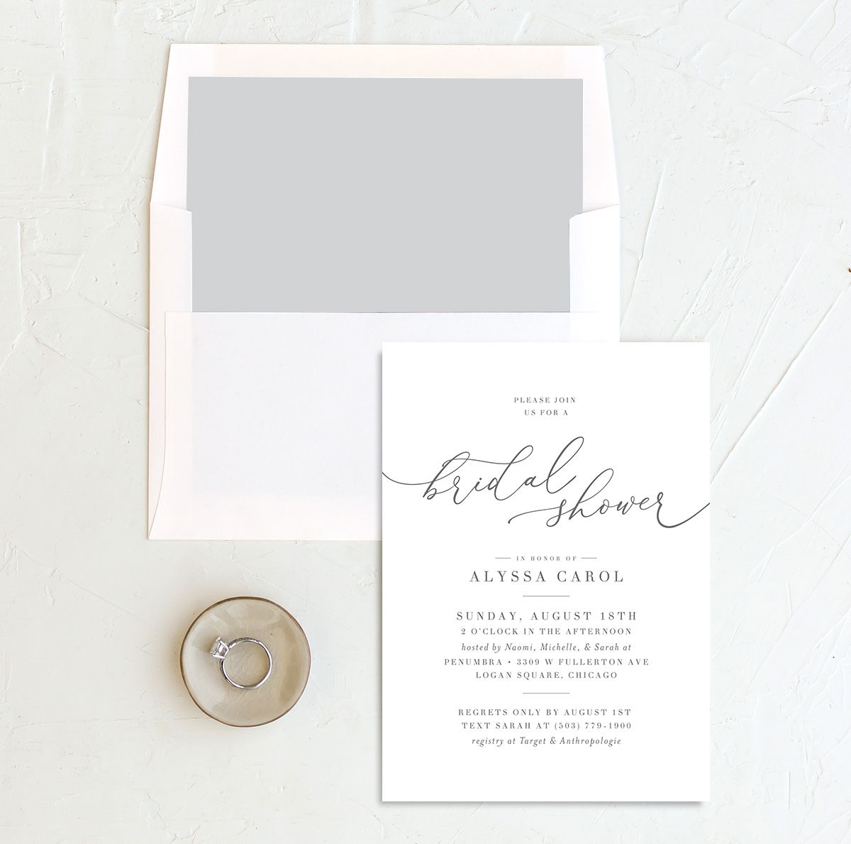 Romantic Calligraphy Bridal Shower Invitation and envelope liner grey