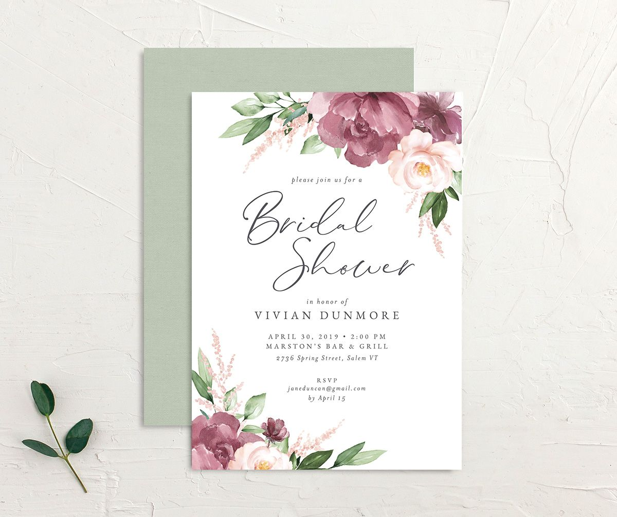Beloved Floral Bridal Shower Invitation front & back in pink