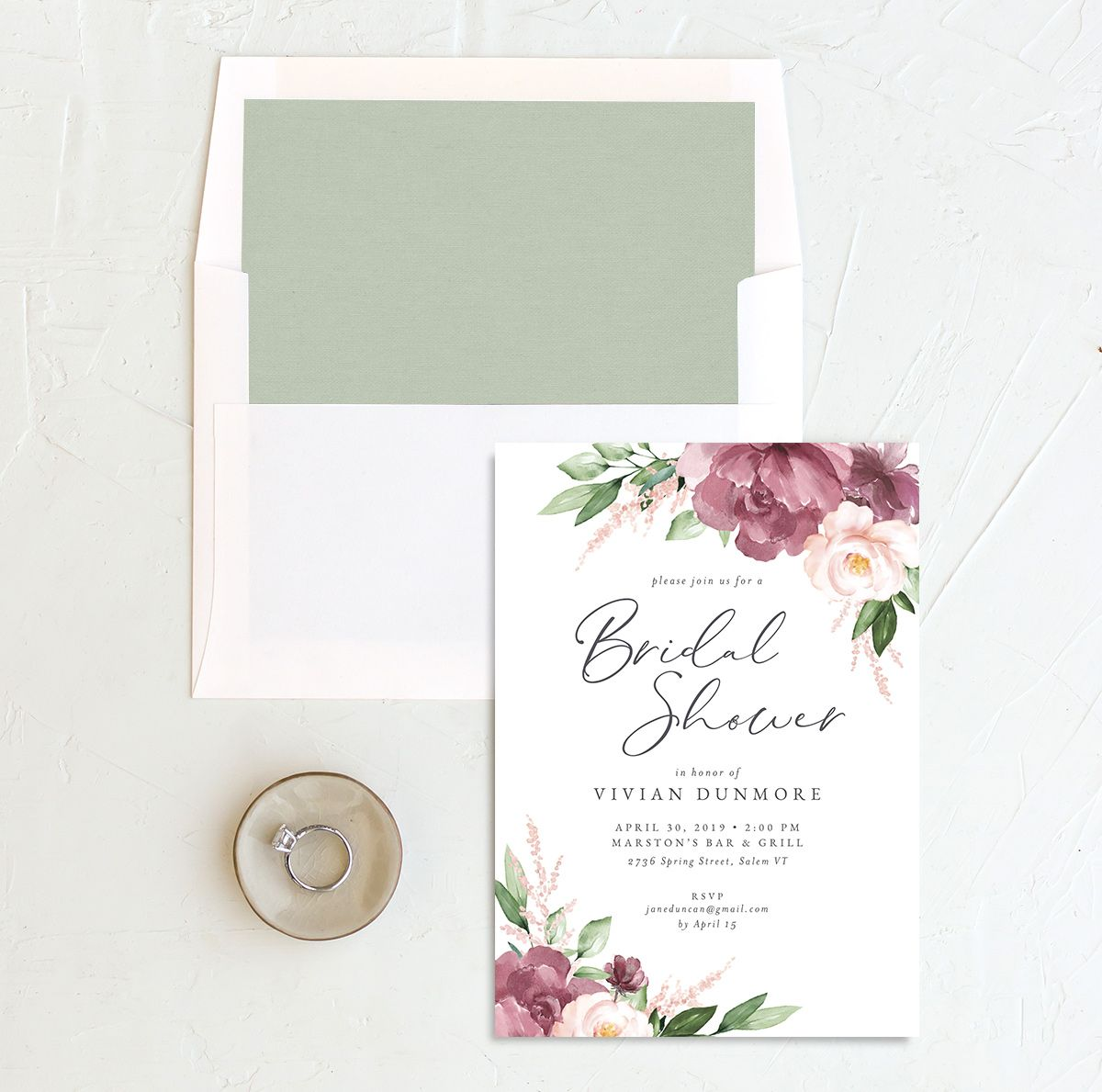 Beloved Floral Bridal Shower Invitation with DIY liner in pink