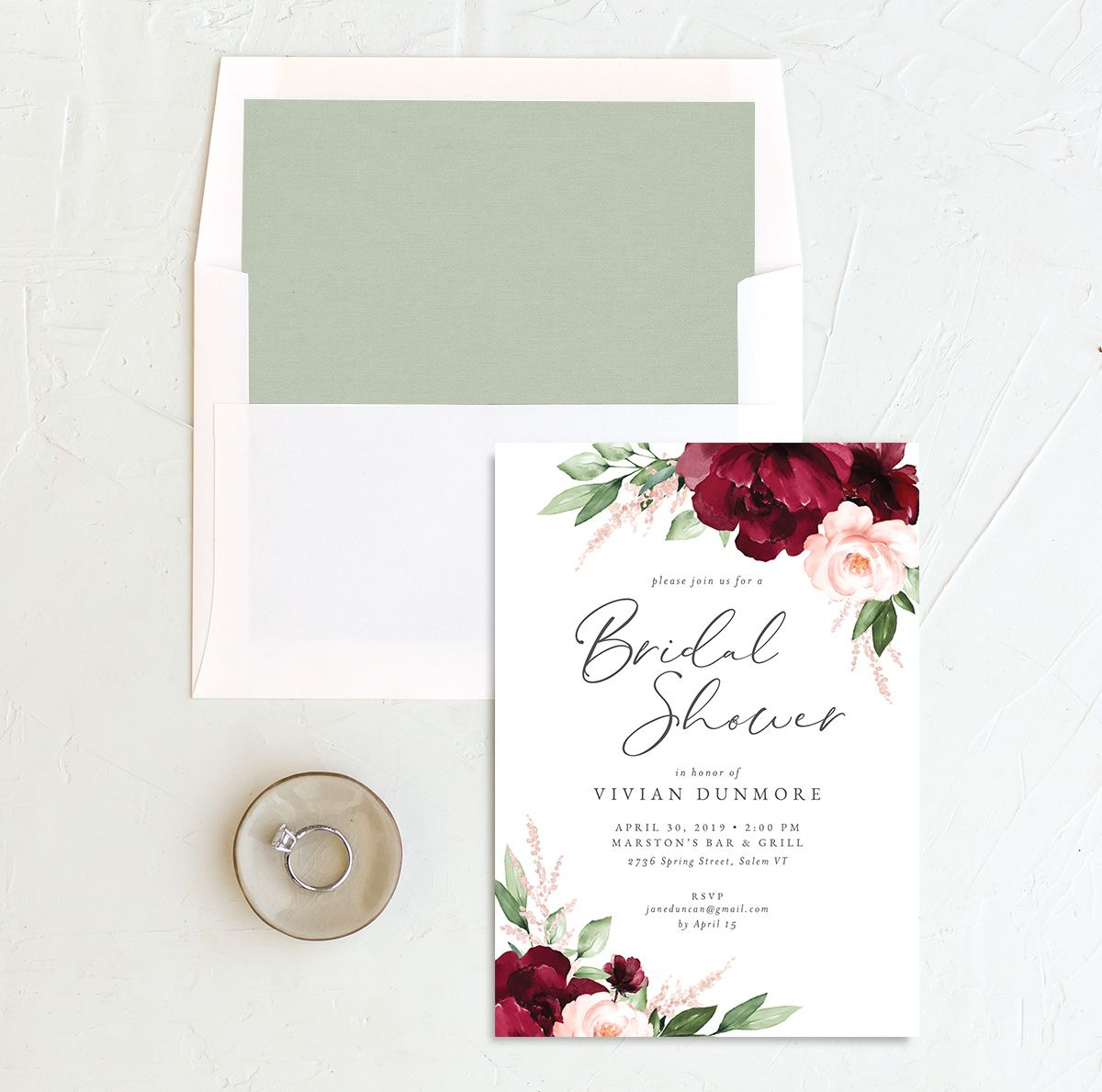 Beloved Floral Bridal Shower Invitation with DIY liner in red