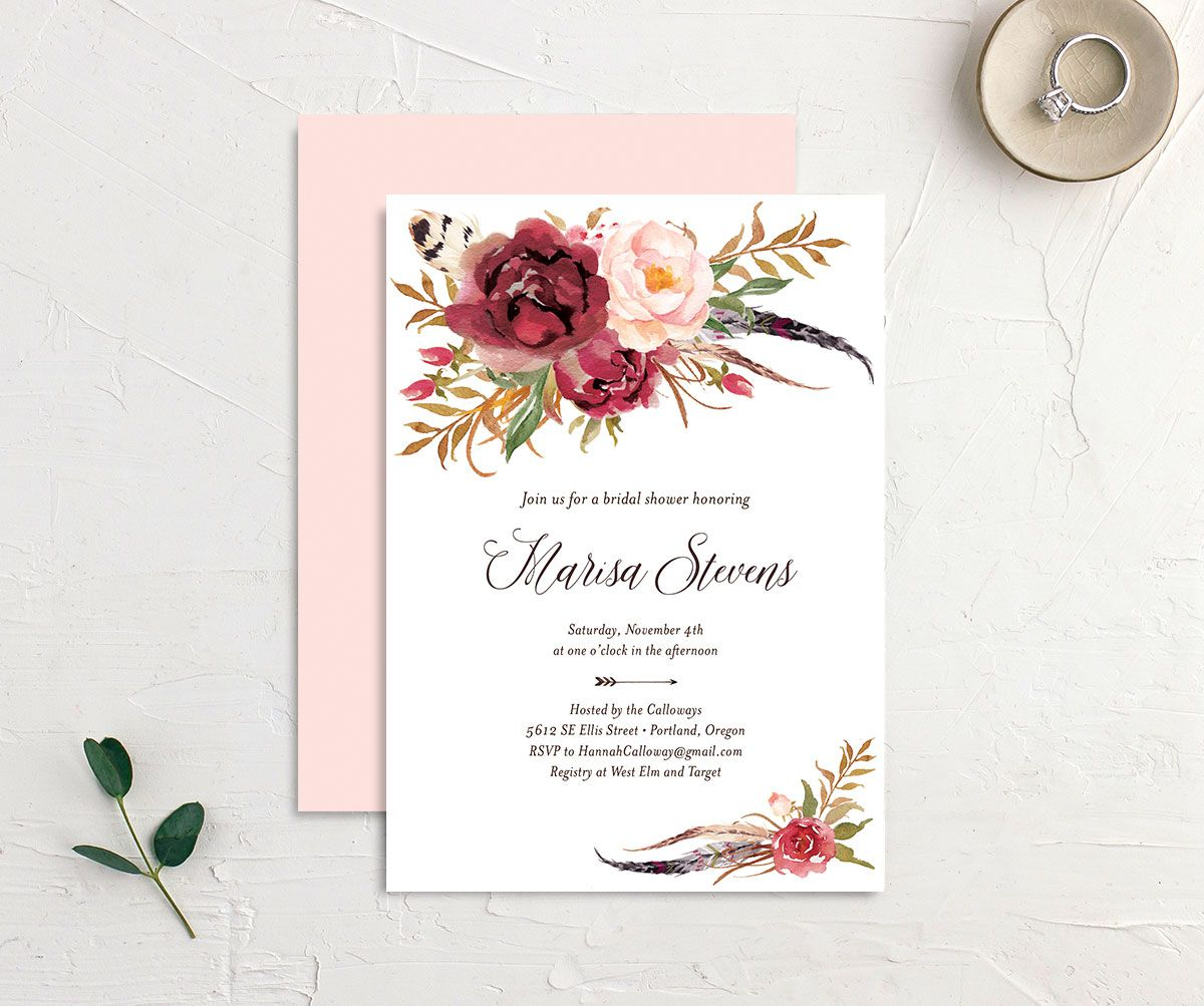 Bohemian Floral Bridal Shower Invitation front and back burgundy