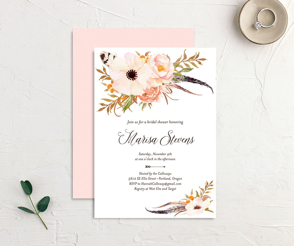 Bohemian Floral Bridal Shower Invitation front and back peach