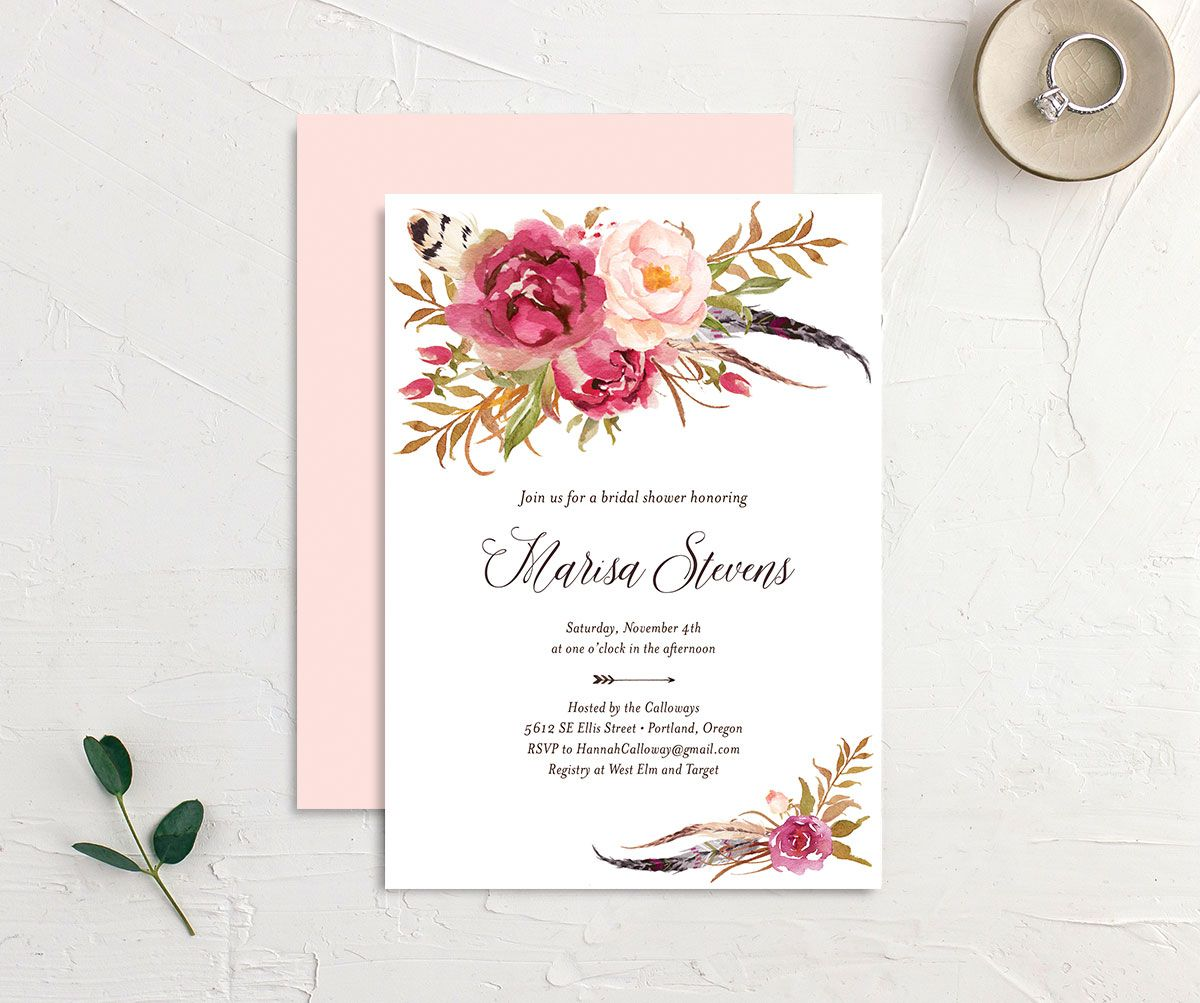 Bohemian Floral Bridal Shower Invitation front and back pink