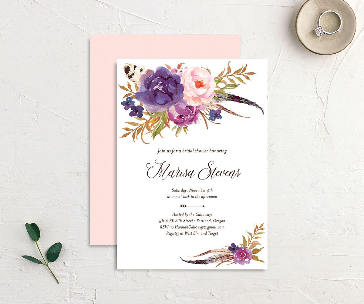 Bohemian Floral Bridal Shower Invitation front and back purple