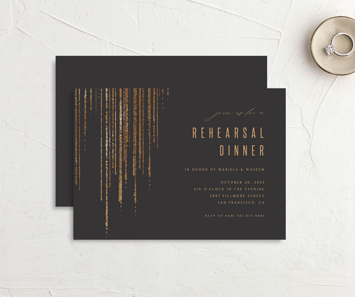 Classic Cascade Rehearsal Dinner front & back in black