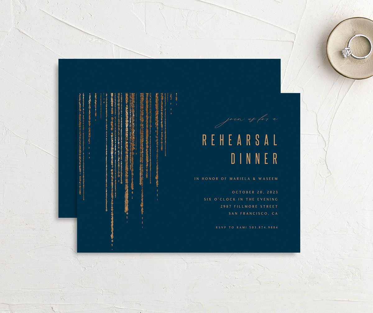 Classic Cascade Rehearsal Dinner front & back in navy