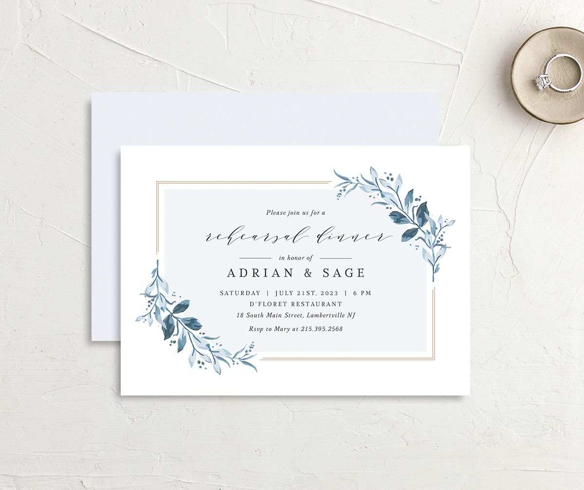 Classic Greenery Rehearsal Invitation front & back in blue