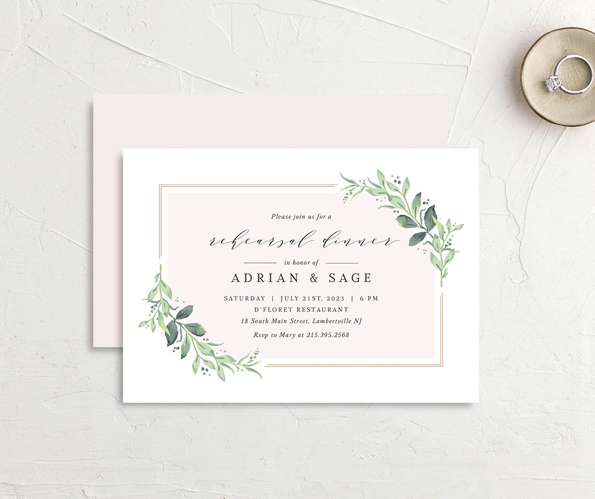 Classic Greenery Rehearsal Invitation front & back in pink