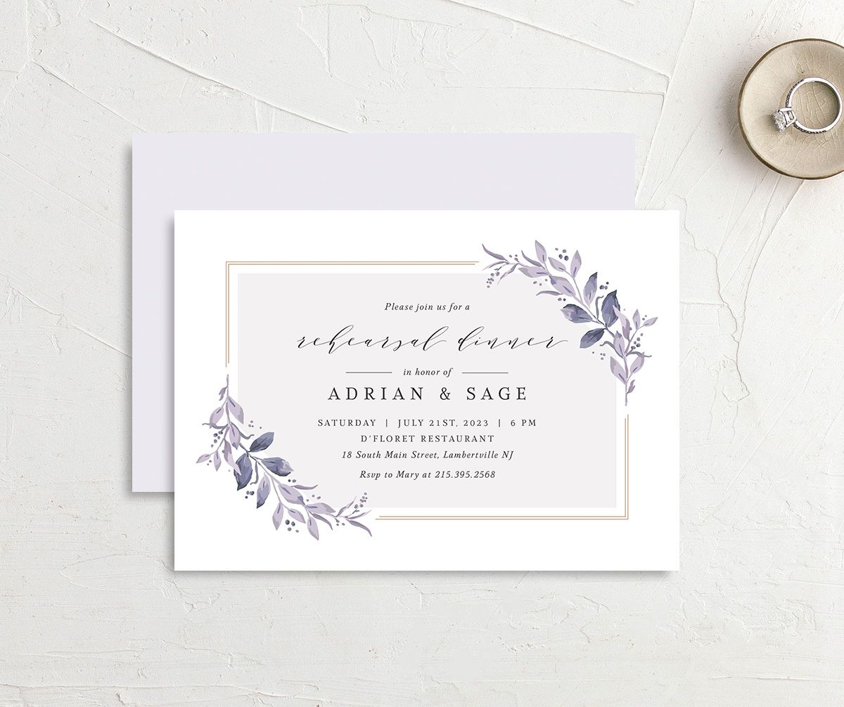 Classic Greenery Rehearsal Invitation front & back in purple