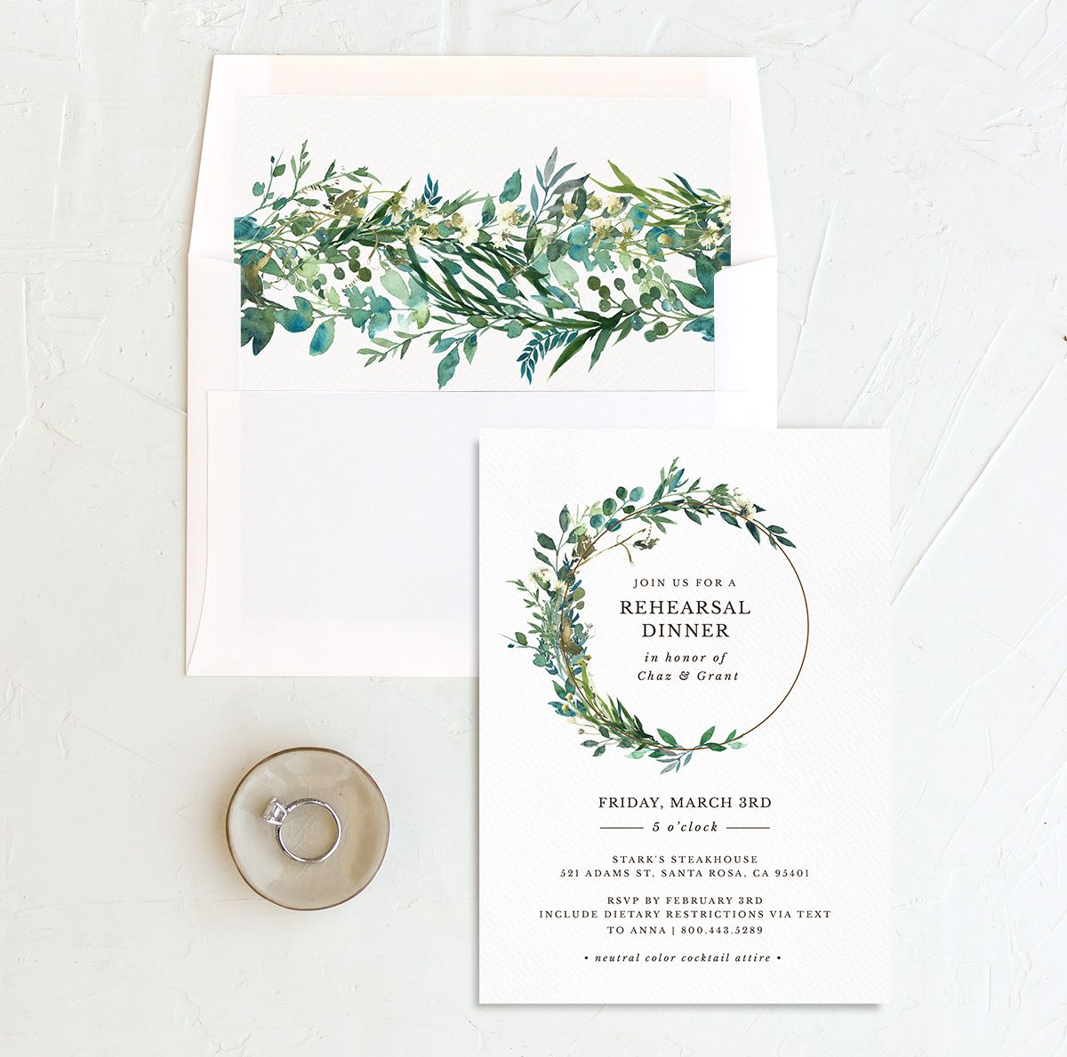 Leafy Hoops Rehearsal Invitation with DIY liner