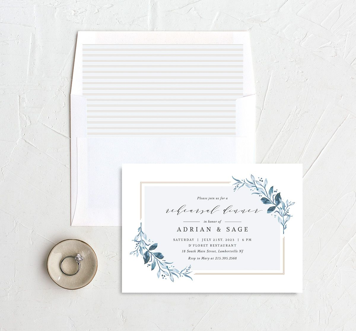 Classic Greenery Rehearsal Invitation with DIY liner in blue