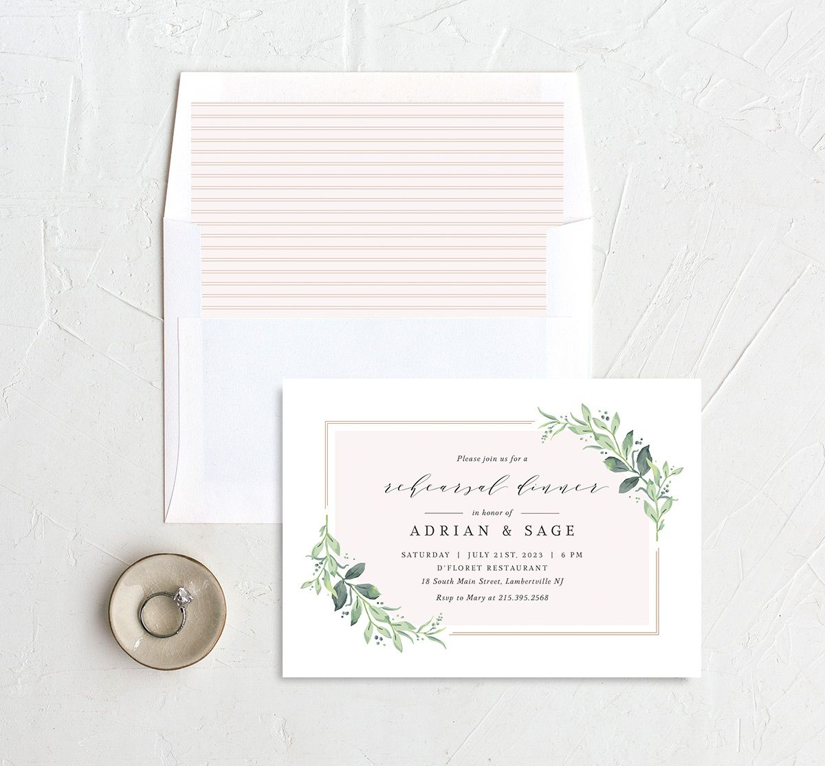 Classic Greenery Rehearsal Invitation with DIY liner in pink