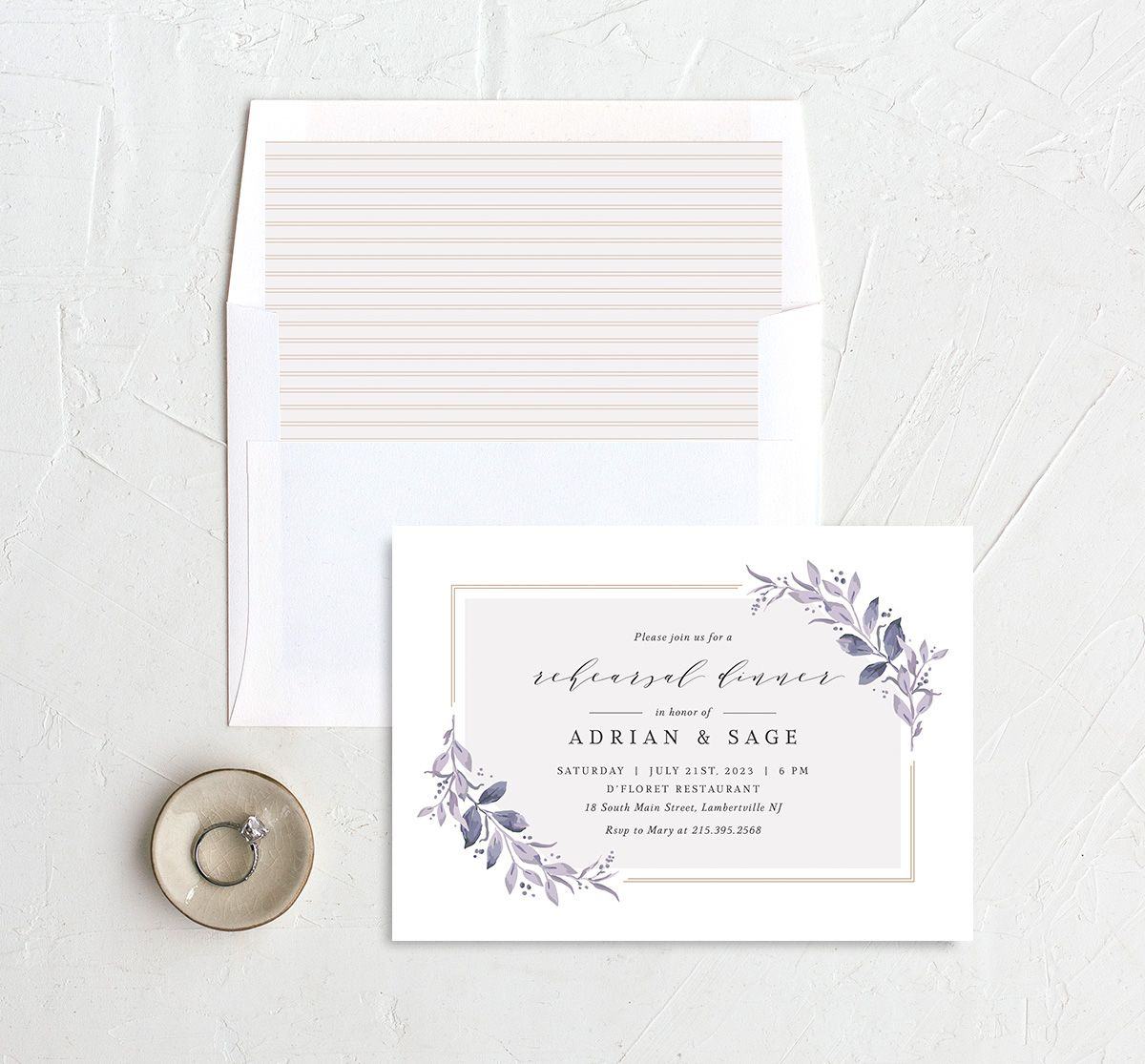 Classic Greenery Rehearsal Invitation with DIY liner in purple