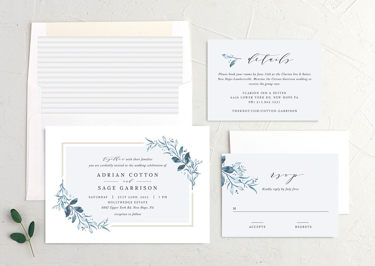 Classic Greenery Wedding Invitation suite in blue