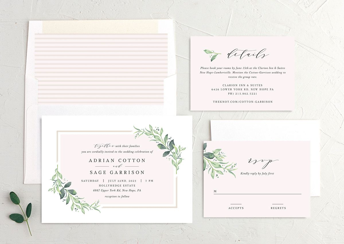 Classic Greenery Wedding Invitation suite in pink