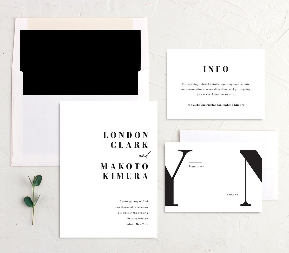 Modern Bodoni Wedding Invitation suite