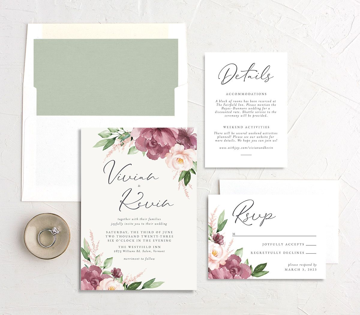 Beloved Floral Wedding Invitation suite in pink