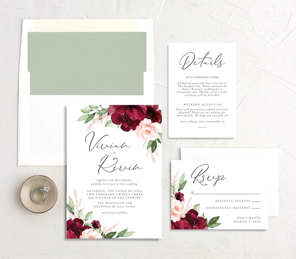 Beloved Floral Wedding Invitation suite in red