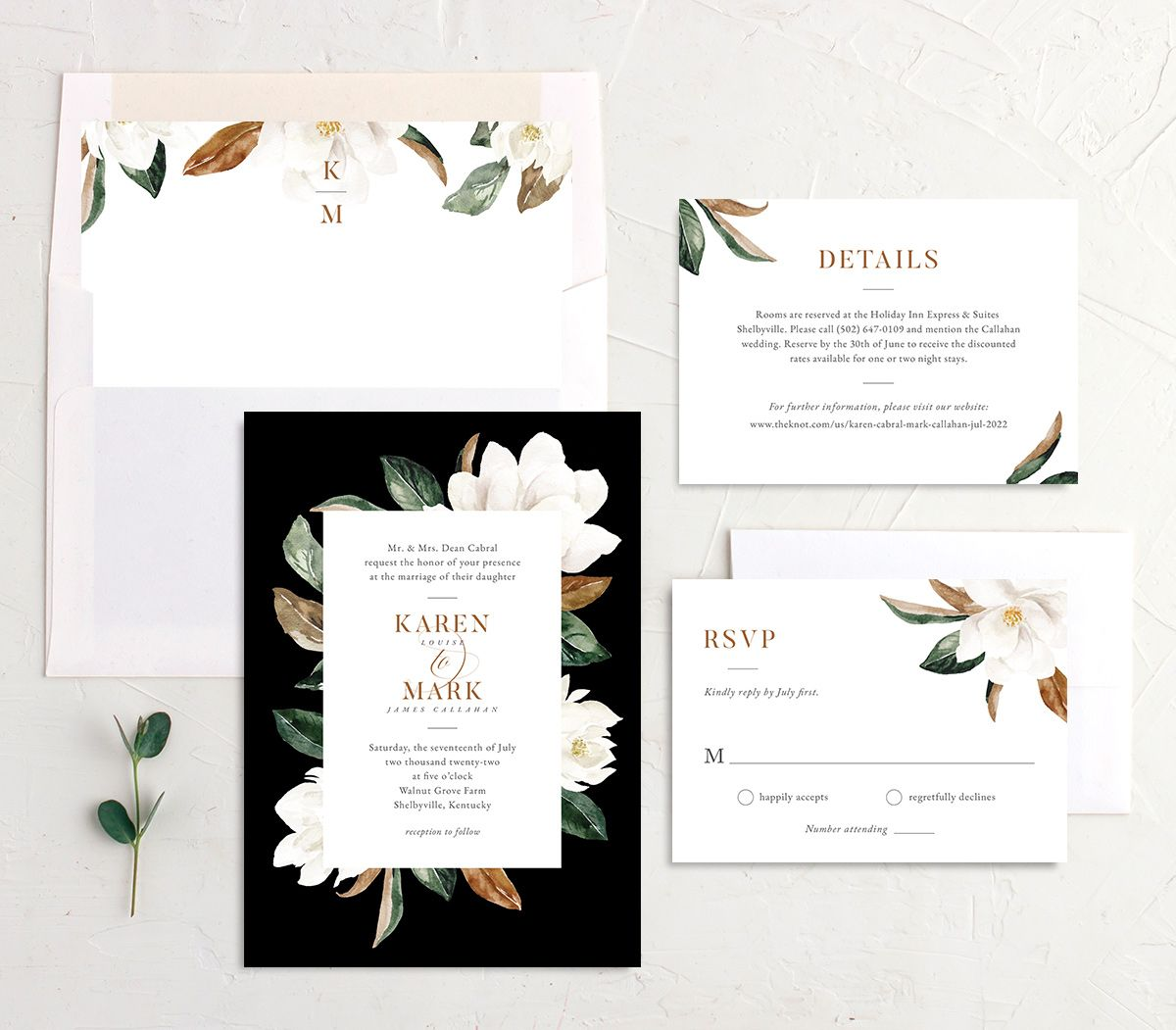 Painted Magnolia Wedding Invitation suite in black