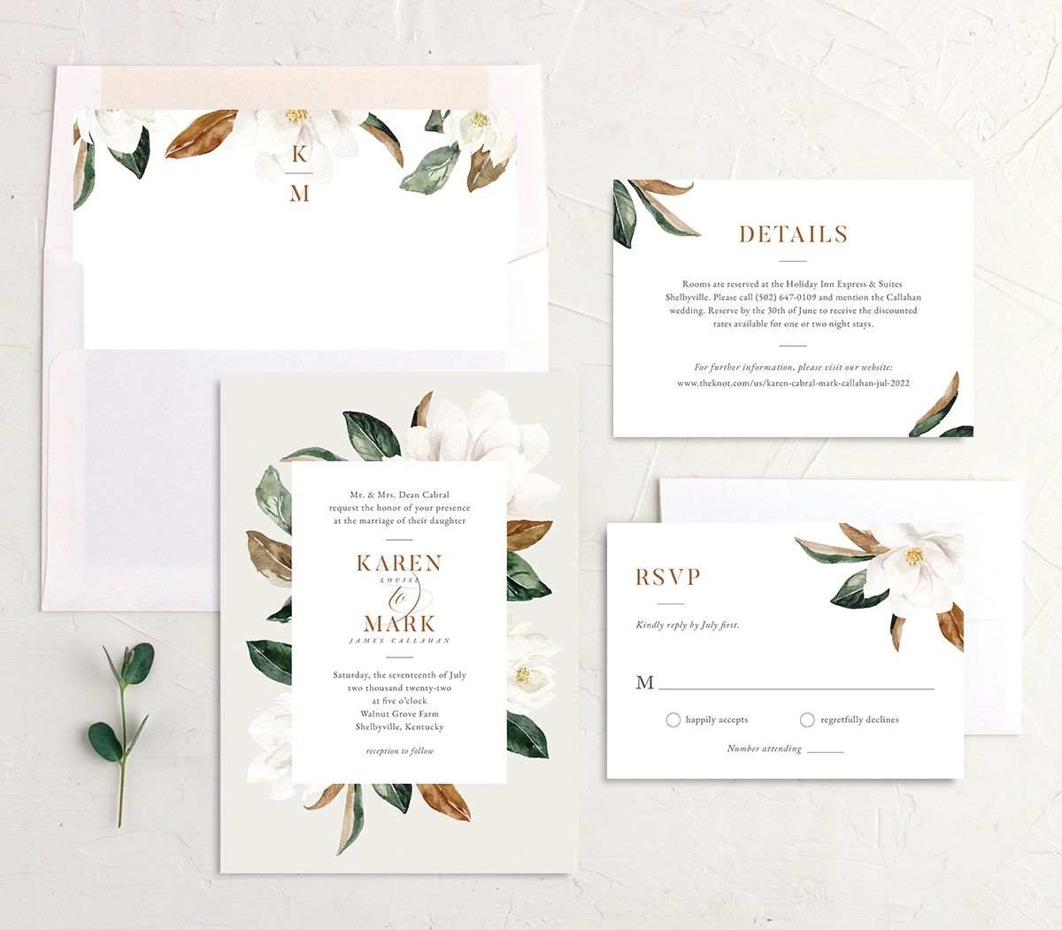 Painted Magnolia Wedding Invitation suite in grey